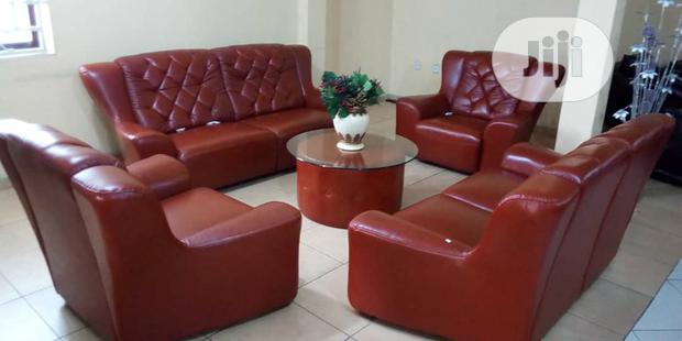 YT- 105: 7 Seater Red Italian Leather Sofa