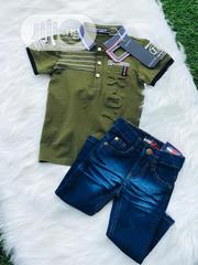 Blue Jeans and Green Polo Top for Boys - 2 Years   Children's Clothing for sale in Lagos State, Lagos Island