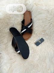 Dark Brown X White Strip Leather Slippers.   Shoes for sale in Lagos State, Lagos Mainland