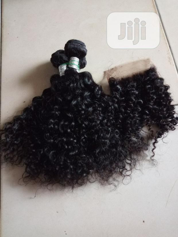 Kinky Curls Human Hair With Closure Available