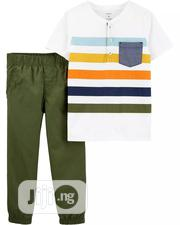 Carters Henley Jersey Tee & Poplin Jogger Pant - 12 Mths, 18 Mths | Children's Clothing for sale in Lagos State, Lagos Mainland