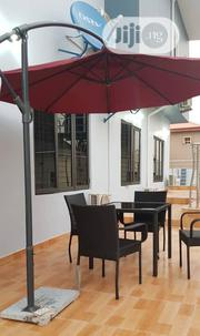 Outdoor Rattan Chair With Umbrella Canopy Marble Base | Garden for sale in Lagos State, Ojo