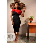 Classic Two-tone Short Sleeves Bodycon Women's Dress | Clothing for sale in Lagos State, Ikoyi