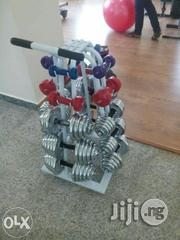 Complete Set Of Iron And Rubber Dumbers With Dumbell Rack | Sports Equipment for sale in Lagos State, Ikeja