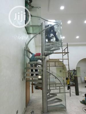 Glass Spiral Staircase With Stainles Steel