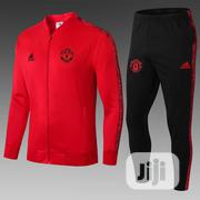 Manchester United Official 2019/20 Red Black Tracksuit Pants | Clothing for sale in Lagos State, Surulere