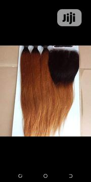"""16"""" Straight Mixed Colored Human Hair With Four Part Closure 