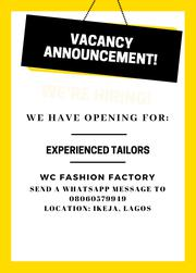 Experienced Tailors Needed At Ikeja Lagos | Other Jobs for sale in Lagos State, Ikeja