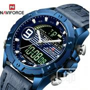 NAVIFORCE Men Leather Luxury Blue LED Chronograph Analog Digital Watch | Watches for sale in Lagos State, Isolo