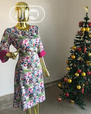 Pink Flowery Turn Up Sleeve Dress | Clothing for sale in Rivers State, Port-Harcourt