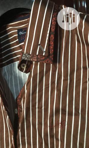 Slim Fit Long Sleeve Stripe Brown/White in Size 4XL
