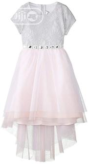 Rare Editions Big Girls Silver Short Sleeve Lace Dress With Pink Skirt | Children's Clothing for sale in Lagos State, Ajah