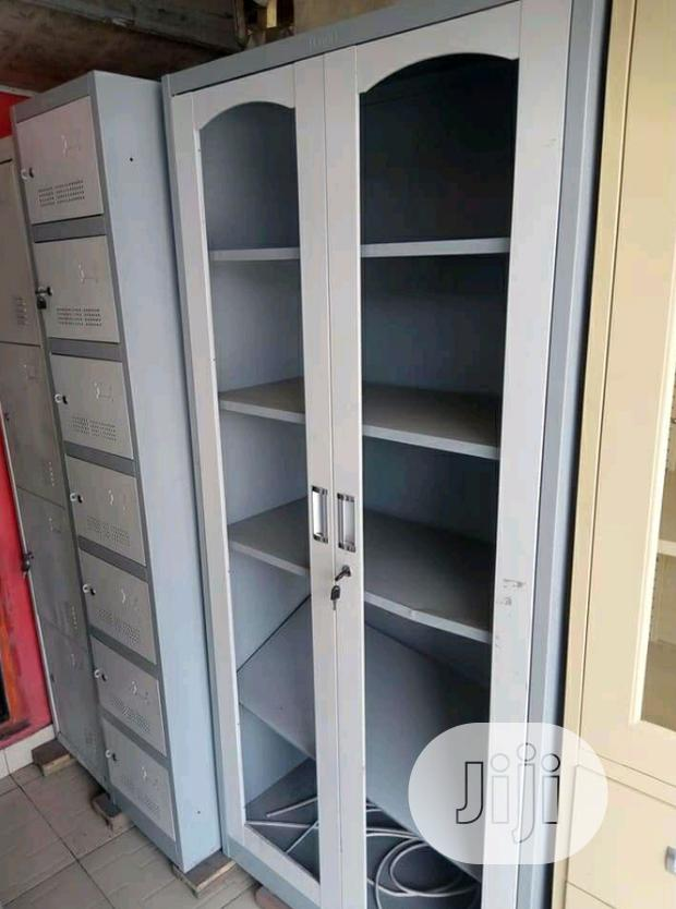 Brand New Imported Metal Book Shelve With Double Glass Doors.
