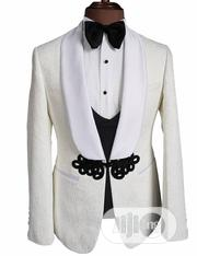 Flowery Design White Tuxedo Wedding Suit | Clothing for sale in Lagos State, Lagos Island