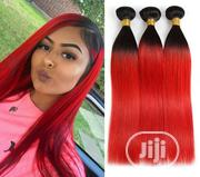 "24"" Two Tone Straight Weavon Black and Red (6 Bundles) 
