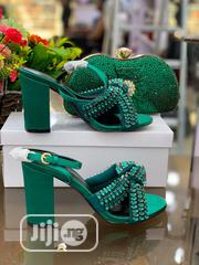 Classic Female Green Block Heel Shoes and Clutche Purse | Shoes for sale in Lagos State, Ikeja