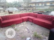 L Shaped Chair Botine Up All Through With Wine Colour Fabric | Furniture for sale in Oyo State, Ibadan