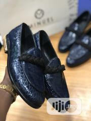 Deep Blue Skin Leather Belgian , With Gold Heal | Shoes for sale in Lagos State, Mushin