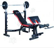 Deluxe Weight Bench and 50kg + Barbell | Sports Equipment for sale in Lagos State, Surulere