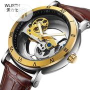 Mechanical Waterproof Hollow Cool Luminous Belt Leather Watch   Watches for sale in Lagos State, Ikeja