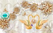 Elegant Golden Swan 8D Wall Mural Design for Homes Offices and Hotels | Home Accessories for sale in Lagos State, Ikeja
