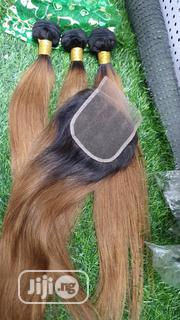 "Honey Gold 18"" Straight Human Hair With Closure 