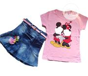2 Pieces Jean Skirt And Top - Pink | Children's Clothing for sale in Lagos State, Isolo