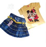 2 Pieces Jean Skirt And Top - Yellow | Children's Clothing for sale in Lagos State, Isolo