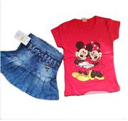 2 Pieces Jean Skirt And Top - Red | Children's Clothing for sale in Lagos State, Isolo