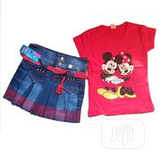 2 Pieces Jean Skirt And Top - Red 2 | Children's Clothing for sale in Lagos State, Isolo