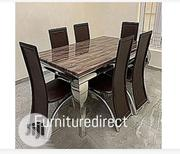 Marble Bronixx Dining Set + 6 Sitting Dinning Chairs | Furniture for sale in Rivers State, Port-Harcourt