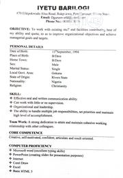Office CV | Internship CVs for sale in Rivers State, Port-Harcourt