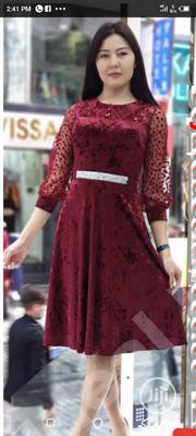 Beautiful Wine Velvet Dress at Wholesale Price. Size 36-42 Available | Clothing for sale in Rivers State, Port-Harcourt