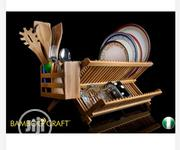 Foldable Bamboo Dish Rack Plus Utensil Caddy | Kitchen & Dining for sale in Lagos State, Magodo