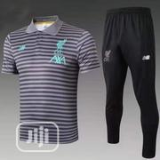 Brand New Liverpool Prematch Polo Tracksuit Grey/Black | Sports Equipment for sale in Lagos State, Surulere