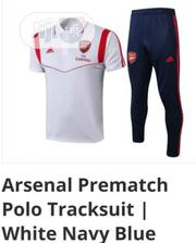Brand New Arsenal Prematch Polo Tracksuit White /Navy Blue | Sports Equipment for sale in Lagos State, Surulere