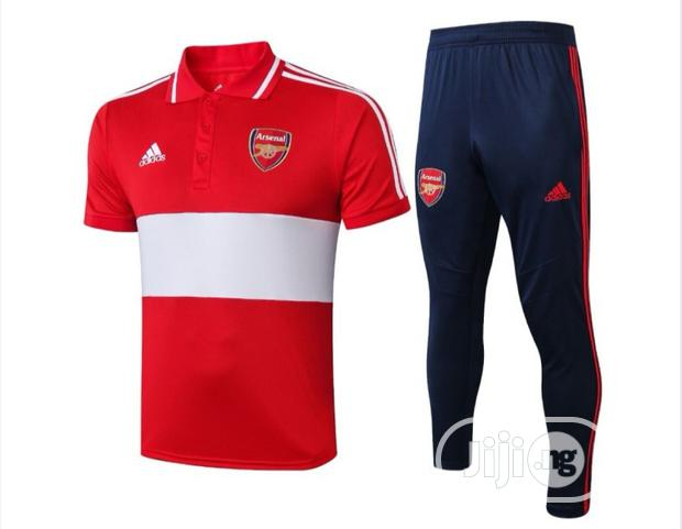 Brand New Arsenal Prematch Polo Tracksuit Red/White Blue