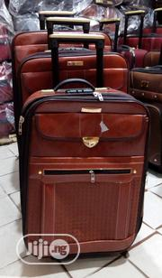 Brown Leather Travel Luggage | 2 Wheel Rollers | Bags for sale in Lagos State, Ikeja