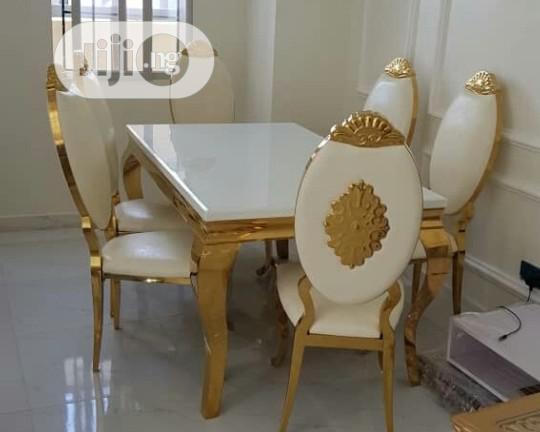 Royal Like, Good Golden Dining Table With 6chairs