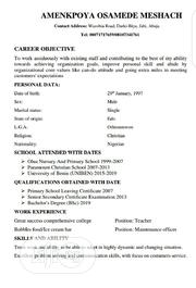 Management CV | Management CVs for sale in Abuja (FCT) State, Jabi