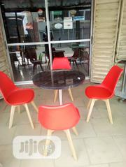 Good Quality Wooden Table With Iron Leg and 4 Fibre Plastic Chairs. | Furniture for sale in Lagos State, Ikeja