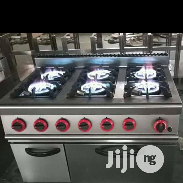 6 Burner Industrial Cooker With Oven And Cabinate