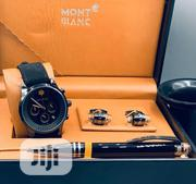 Montblanc Chronograph Black Leather Strap Watch/Pen and Cufflinks | Watches for sale in Lagos State, Lagos Island