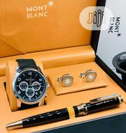 Montblanc Chronograph Silver Leather Strap Watch/Pen And Cufflinks | Watches for sale in Lagos State, Lagos Island