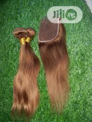 Plain Gold Straight Human Hair With Closure | Hair Beauty for sale in Lagos State, Ikeja
