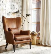 Modern Wing-Back Leather Chair With Nail Heads | Furniture for sale in Lagos State, Ipaja