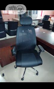 Executive Net Chair With Leather Seat And Headrest | Furniture for sale in Lagos State, Ojo