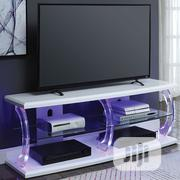 TV Stand LED White Clear Glass | TV & DVD Equipment for sale in Lagos State, Ipaja