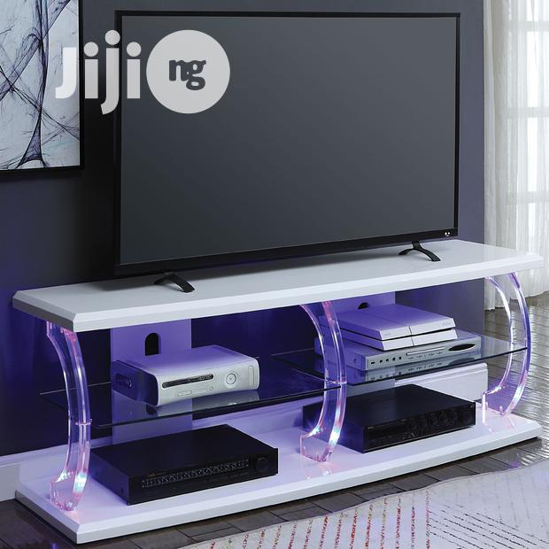 TV Stand LED White Clear Glass