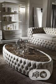 Modern Button Upholstered Nubuck Leather Oval Coffee Table | Furniture for sale in Lagos State, Ipaja